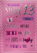 Sister 13th Birthday Card